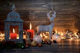 Grukarte - Laterne und Hirsch im Lichterglanz