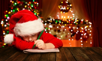 Christmas Child Write Letter Santa Claus, Kid Santa Hat Writing